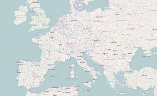 Une carte de l'Europe sur OpenStreetMap
