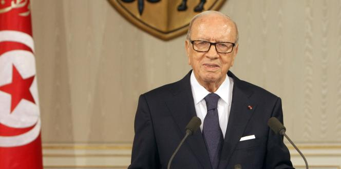 Le chef de l'Etat tunisien, Béji Caïd Essebsi, lors d'une conférence de presse samedi 4 juillet.