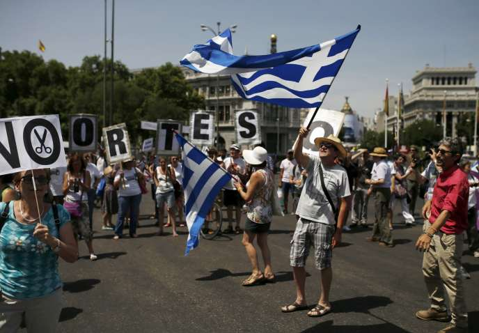 Manifestations en soutien à la Grèce à Madrid, le 5 juillet.