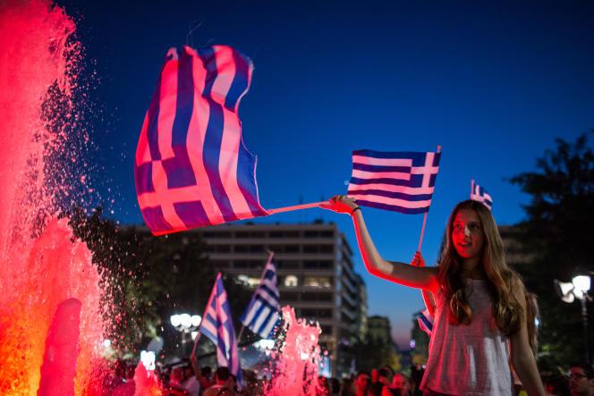 Place Syntagma, le 5 juillet, après la victoire du non au référendum.