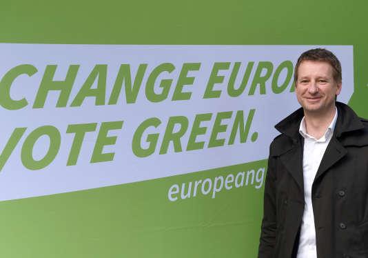 Yannick Jadot, député européen Europe Ecologie-Les Verts le 8 avril 2014 à Ramonville Saint-Agne (Haute-Garonne)
