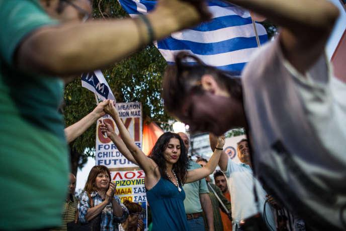 Rassemblement des partisans du non, place Syntagma à Athènes, le 5 juillet.