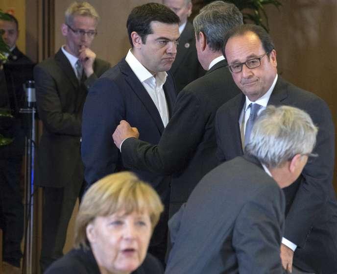 Angela Merkel, Alexis Tsipras et François Hollande, mardi 7 juillet à Bruxelles.