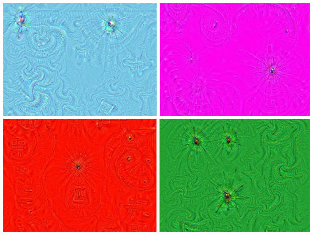 Même en partant d'une image unicolore, DeepDream interprète des formes.