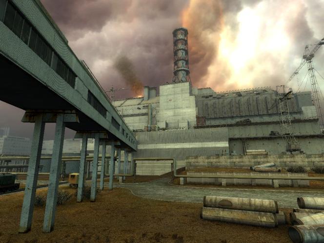Centrale nucléaire rouillée et ciel mélancolique, deux traits marquants de l'ambiance de S.T.A.L.K.E.R.
