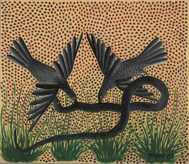 """""""Pilipili a  exercé plusieurs métiers - peintre de bâtiment et plombier – avant de rejoindre l'Atelier du Hangar en 1947. Il met en scène la nature africaine dans tous ses états, suivant le cycle de la vie et de la mort. Ses peintures soignées et raffinées révèlent une grande maîtrise des couleurs et des nuances."""""""