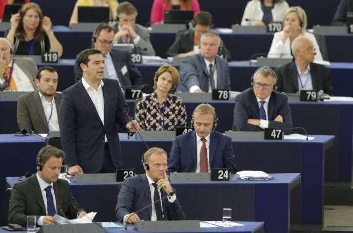 Alexis Tsipras s'adresse aux députés du Parlement européen, mercredi 8 juillet, à Strasbourg.