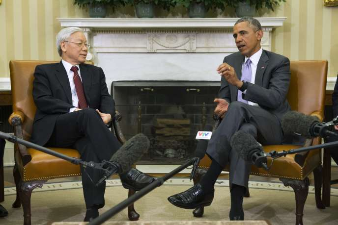 Nguyen Phu Trong, secrétaire général du Parti communiste vietnamien, reçu à la Maison Blanche par Barack Obama, le 7juillet.