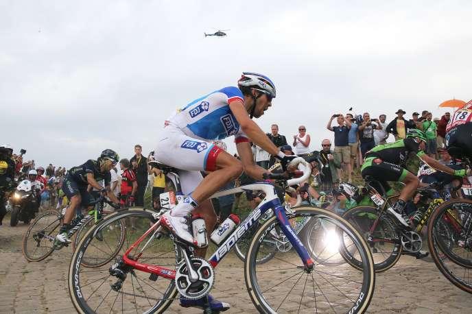 Thibaut Pinot, lors de la quatrième étape du Tour de France entre Seraing et Cambrai mardi 7 juillet.