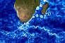 Au sud-est de l'Afrique, les tourbillons du courant marin des Aiguilles représentés par Mercator.