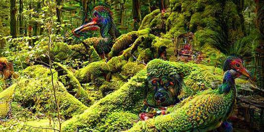 Une forêt, réinterprétée par un programme d'intelligence artificielle de Google, Deep Dream.