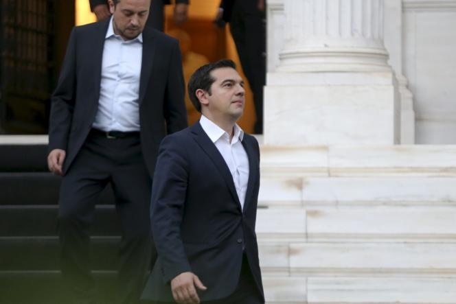 Le premier ministre grec, Alexis Tsipras (au premier plan), le 8juillet, à Athènes.