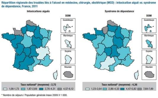 Répartition régionale des troubles liés à l'alcool en médecine, chirurgie, obstétrique (MCO): intoxication aiguë vs. syndrome de dépendance, France, 2011