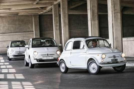 La première Cinquecento née en 1957, suivie de la version néorétro de 2007, puis du modèle 2015.