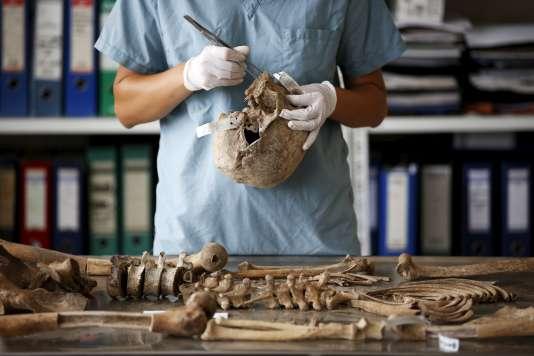Un anthropologue travaille à l'identification des victimes du massacre de Srebrenica, le 11 juin 2015 à Tuzla.