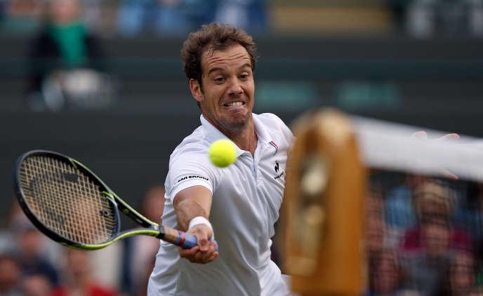 Richard Gasquet, vainqueur du Suisse Stan Wawrinka en quarts de finale de Wimbledon, le 8 juillet.