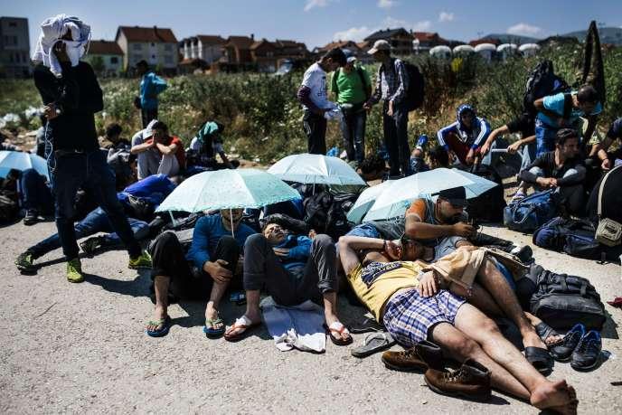 Des migrants en chemin vers l'Europe à Presovo en Serbie le 2 juillet 2015.