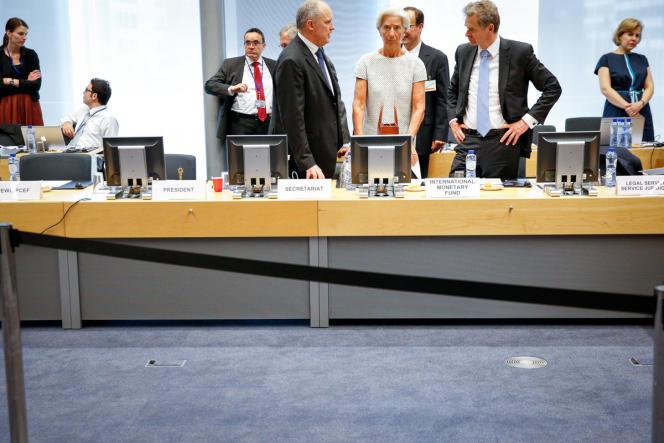 Christine Lagarde à la réunion de l'Eurogroupe, samedi 11 juillet.