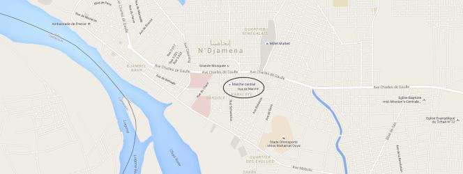 Localisation du marché central de N'Djamena, au Tchad.