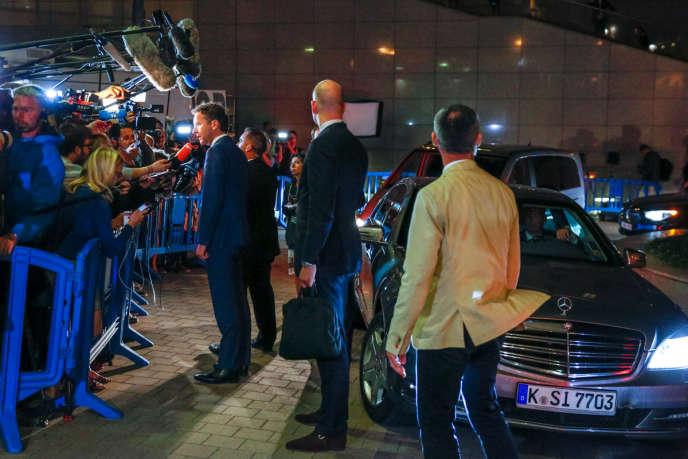 Le Néerlandais, Jeroen Dijsselbloem, ministre des finances des Pays-Bas et président de l'Eurogroupe, dans la nuit de samedi 11 au dimanche 12 juillet à Bruxelles.