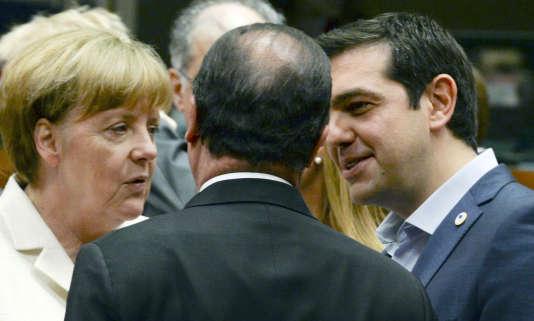 Angela Merkel, Francois Hollande et Alexis Tsipras à Bruxelles le 12 juillet 2015.