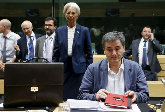 Le ministre des finances grec, Euclid Tsakalotos, et la directrice générale du FMI, Christine Lagarde.
