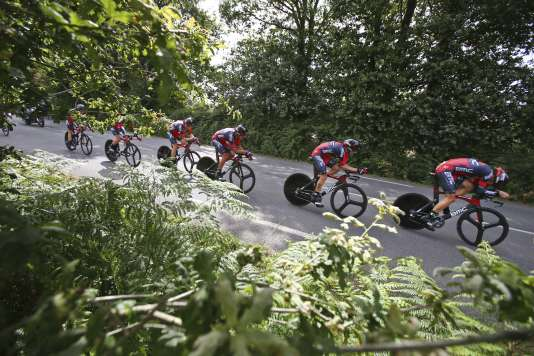 La formation BMC sur le Tour de France, le 12 juillet.
