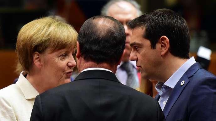 Angela Merkel, Francois Hollande et Alexis Tsipras au sommet de l'Eurozone, en juillet, à Bruxelles.