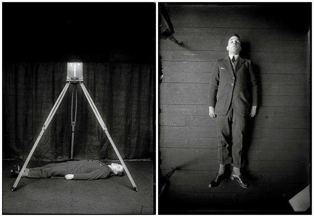 Corps simulant le cadavre, mise en scène démonstrative du système de photographie métrique de Bertillon, matériel didactique pour cours et conférence. Photographies de Rodolphe A. Reiss, 1925.