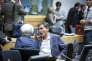 La directrice générale du FMI Christine Lagarde, et le  ministre des finances grec, Euclide Tsakalotos, participent à une réunion de l'Eurogroupe à Bruxelles, le 12 juillet 2015.