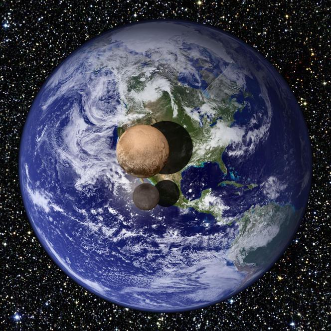 Vue d'artiste comparant la taille de la Terre, de Pluton et de sa pseudo-lune Charon (en gris). Le rayon de Pluton vient d'être précisé par la sonde New Horizons: il est de 1185 km, plus ou moins 10 km, ce qui en fait le plus grand objet transneptunien connu.