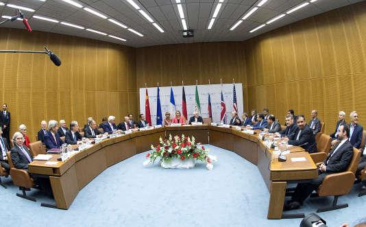 La dernière séance plénière des négociations sur le programme nucléaire iranien, le 14juillet à Vienne (Autriche).