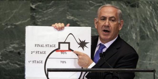 Le 27 septembre 2012, Benyamin Nétanyahou, le premier ministre d'Israël, avait déjà mis en cause le programme nucléaire iranien à la tribune des Nations unies.