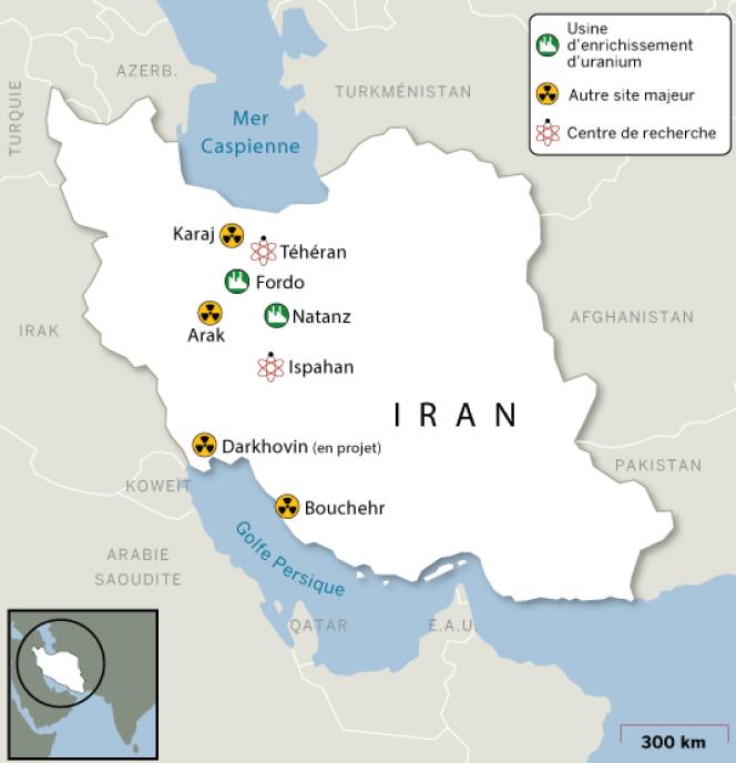 Localisation des sites stratégiques du nucléaire iranien.