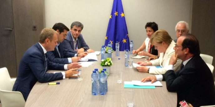 Angela Merkel, François Hollande et Alexis Tsipras réunis pour négocier la sortie de crise grecque