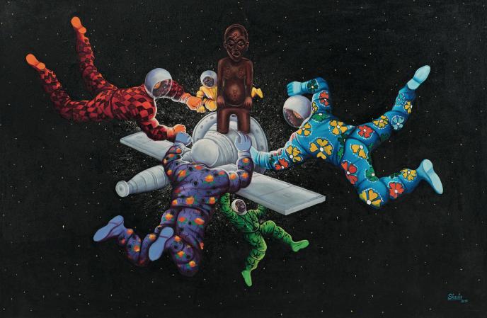 Monsengo Shula, Ata Ndele Mokili Ekobaluka (Tôt ou tard le monde changera), 2014 Acrylique et paillettes sur toile, 130 x 200 cm Collection privée  © Monsengo Shula Photo © Florian Kleinefen