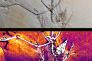 En haut, photo en vraie lumière du fossile d'archéoptéryx ; en bas, l'image par fluorescence du phosphore aux rayons fait apparaître les restes des plumes.