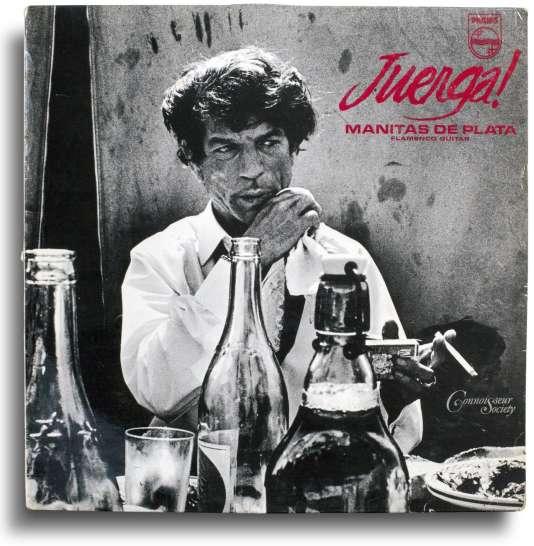 Pochette de l'album « Juerga », de Manitas de Plata, Philips 844 535 PY, France, 1963. Photographie de Lucien Clergue. Avec l'aimable autorisation de la famille Clergue. Présentée dans l'exposition « Total Records » aux Rencontes d'Arles.