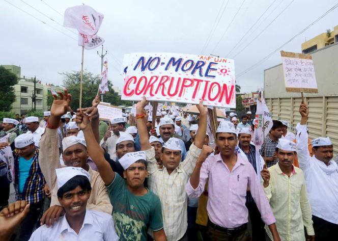 Une manifestation contre la corruption, le 11 juillet à Bhopal. La ville est au cœur d'un scandale d'une ampleur inédite.