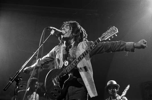 Bob Marley lors d'un concert le 18 Juillet 1975 au Lyceum à Londres.