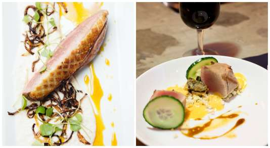 Magret de canard à la braise (à gauche), à déguster à La Maison Bleue, et foie gras des Landes grillé au Braisenville.