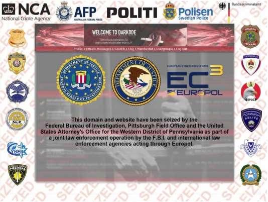 L'avis du FBI qui s'affiche en entrant l'adresse du forum Darkode.
