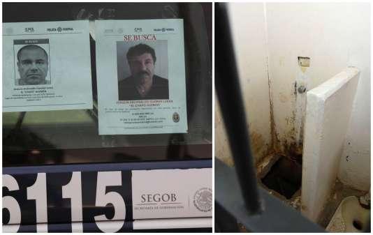 """Joaquín """"El Chapo"""" Guzmán, matricule 16115 de la prison Altiplano, à 90 km de Mexico, s'est échappé par un tunnel creusé dans la douche de sa cellule."""