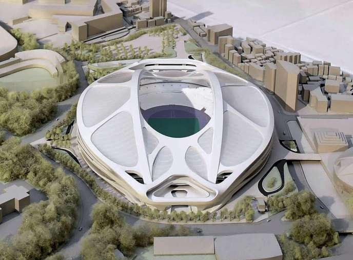 Une maquette du projet de stade.