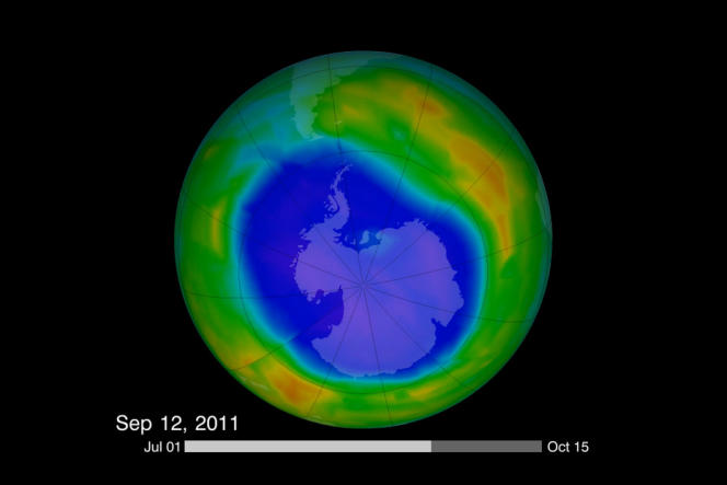 Le «trou» de la couche d'ozone au-dessus de l'Antarctique, capturé par la NASA.