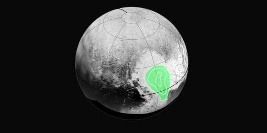 La NASA s'est intéressée à une grande plaine glacée située dans la région Tombaugh, la vaste zone en forme de cœur.