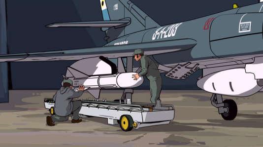 Le missile Exocet de fabrication française, accroché à un avion également français, le Super- Etendard, scène d'animation tiré du documentaire.