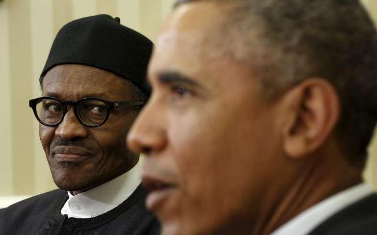 Réunion entre les présidents nigérian Muhammadu Buhari et américain Barack Obama le 20 juillet, à la Maison Blanche.