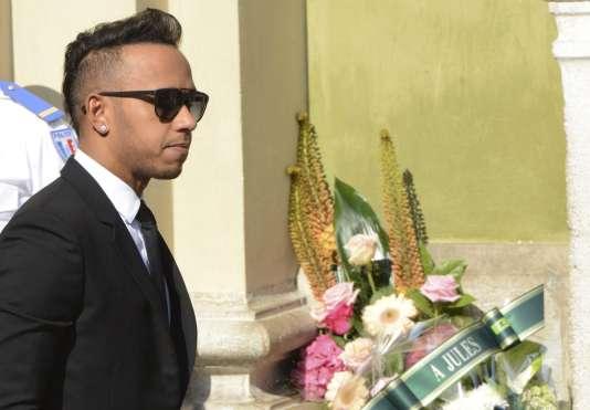 Le pilote britannique et champion du monde Lewis Hamilton, présent pour le dernier hommage à Jules Bianchi à Nice, le 21 juillet.