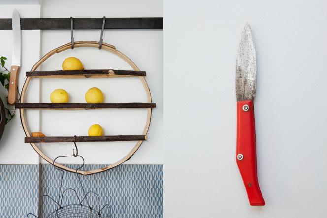 A gauche, un arbre à fruits conçu par Godefroy de Virieu pour les faire murir. A droite, le propre couteau Pallarès du couple.